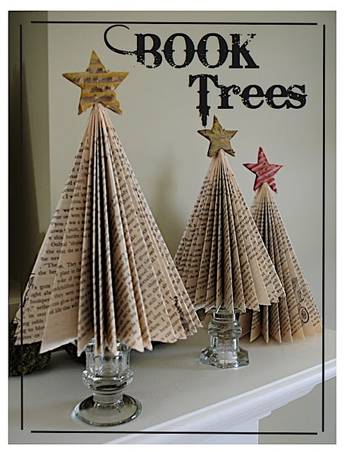 C mo hacer un rbol de navidad con libros libr patas for Christmas tree made from old books